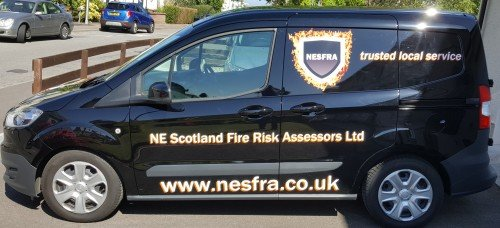North East Scotland Fire Risk Assessors vehicle livery aberdeen