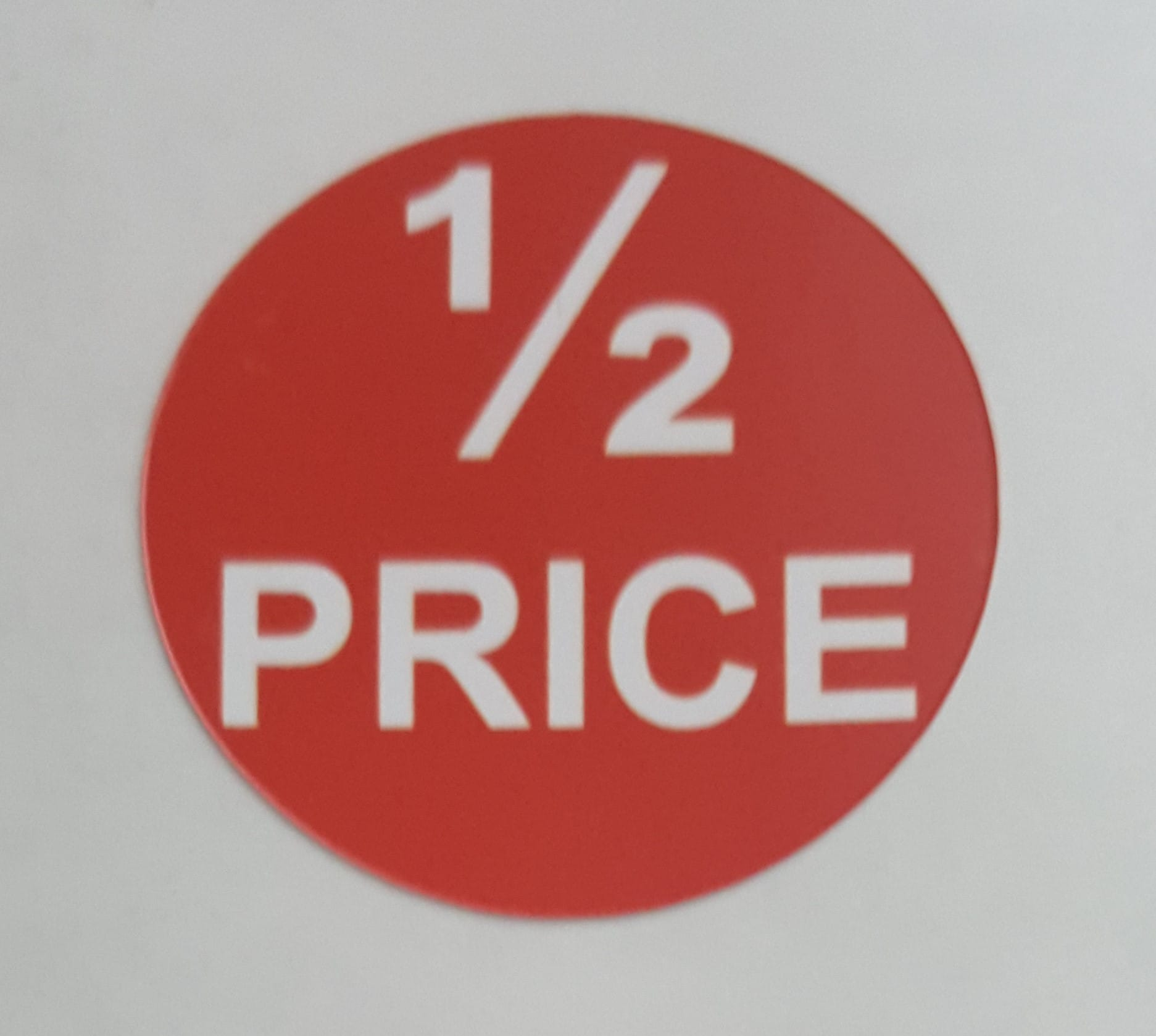 Half price sticky labels